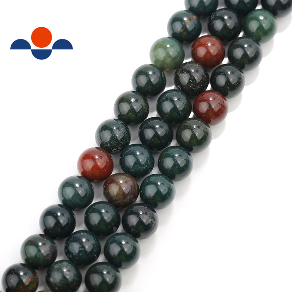 natural bloodstone smooth round beads