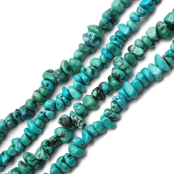 "Blue Turquoise Irregular Pebble Nugget Chips Beads 5-6mm 15.5"" Strand"
