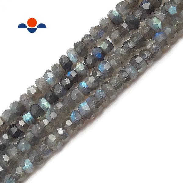 "High Quality Labradorite Faceted Nugget Rondelle Beads 6x8mm 15.5"" Strand"
