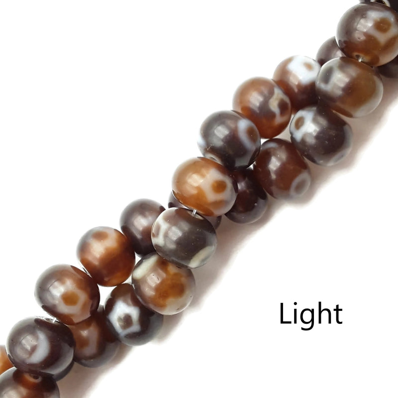 "Dark & Light Brown Antique Tibetan Dzi Agate Rondelle Beads 12x15mm 15.5"" Strand"