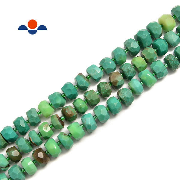 "Chrysoprase Faceted Rondelle Wheel Discs Beads Size 6x10mm 15.5"" Strand"