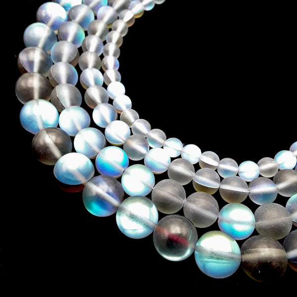 "Black Blue Mystic Aura Mermaid Glass Matte Round Beads 6mm 8mm 10mm 12mm 15.5"" Strand"