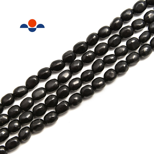 Shungite Smooth Pebble Nugget Beads Size 7x9mm 15.5'' Strand