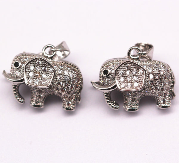 silver plated mirco pave clear zircon elephant pendant copper charm