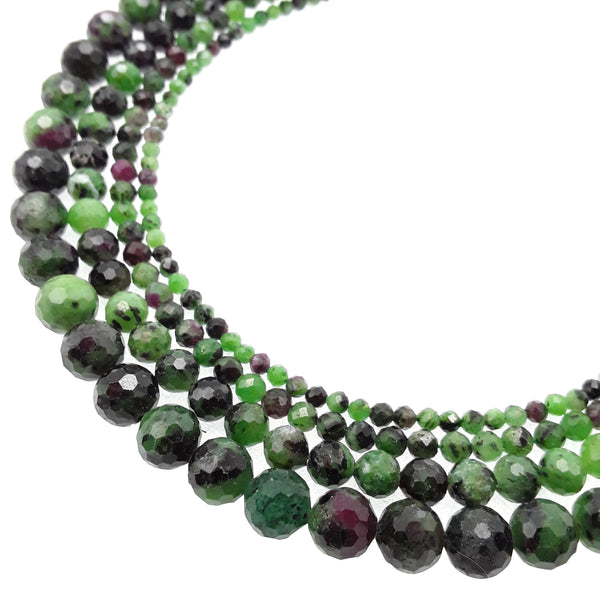 natural ruby zoisite faceted round beads