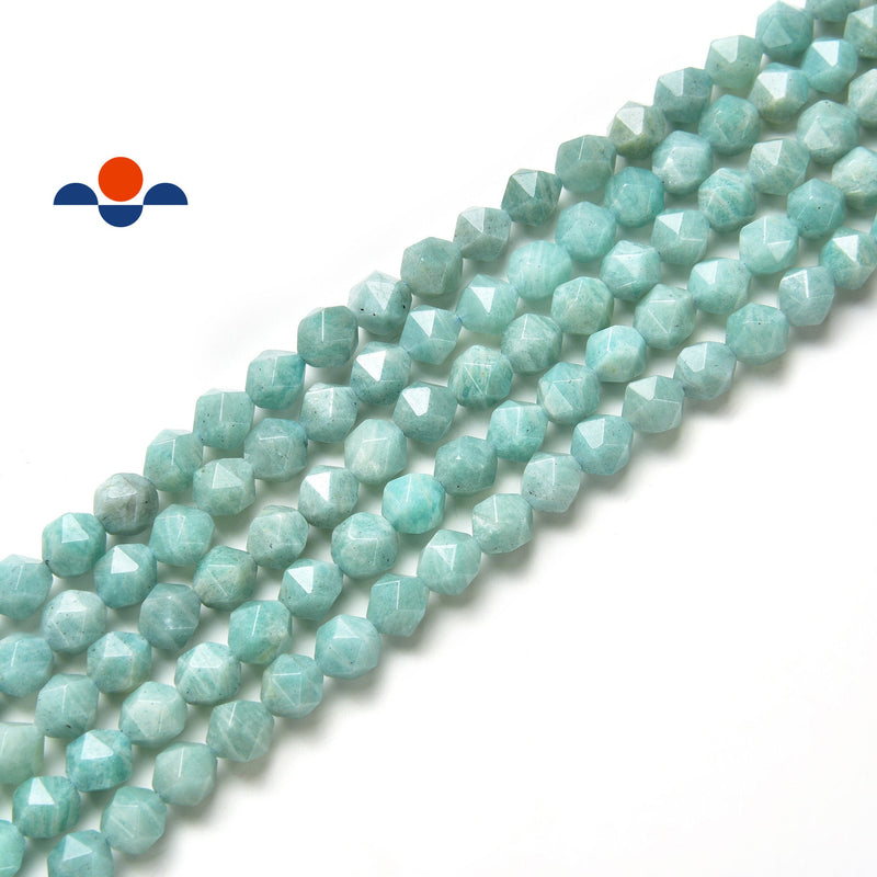 green amazonite faceted star cut beads