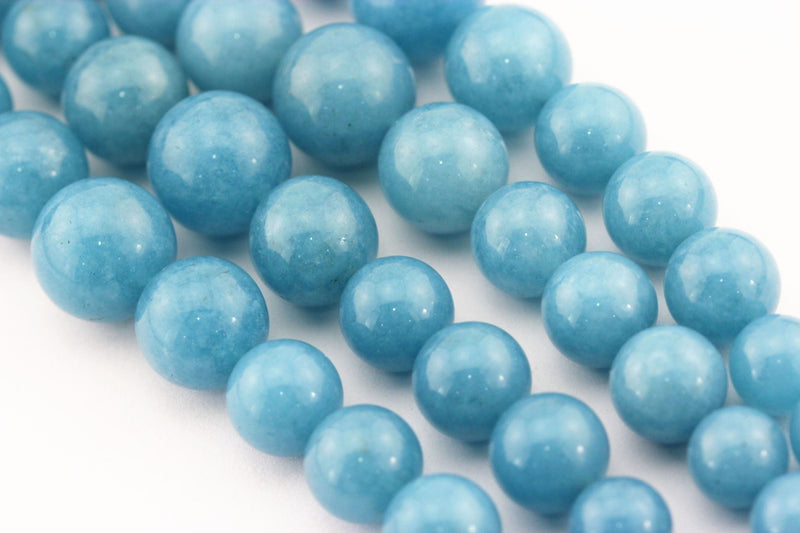 blue sponge quartz graduated smooth round beads