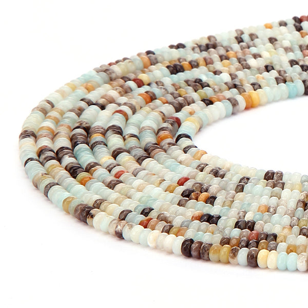 multi color amazonite faceted rondelle beads