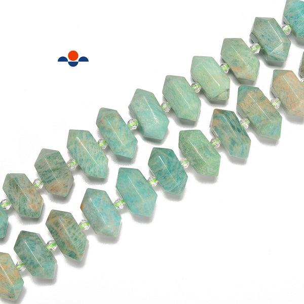 Green Amazonite Graduated Center Drill Faceted Points Size 13-25mm 15.5'' Strand