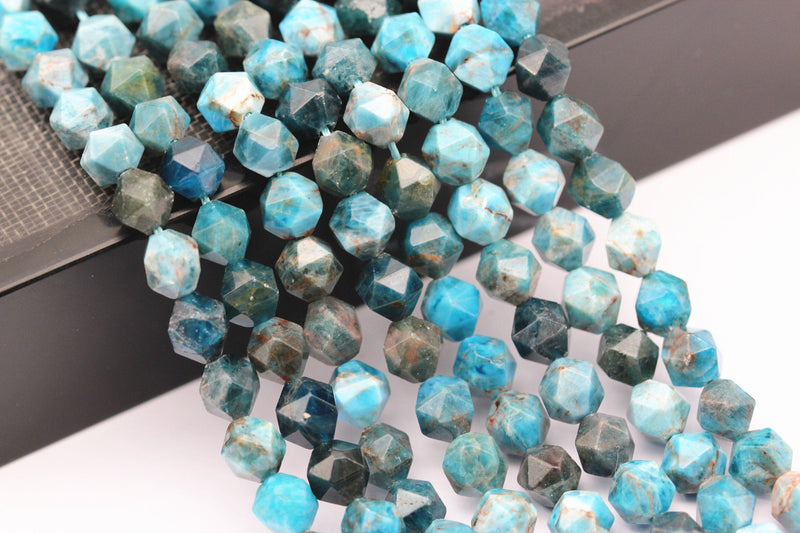 "Apatite Faceted Star Cut Beads 8mm 15.5"" Strand"