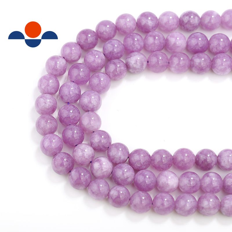cloudy purple dyed jade smooth round beads