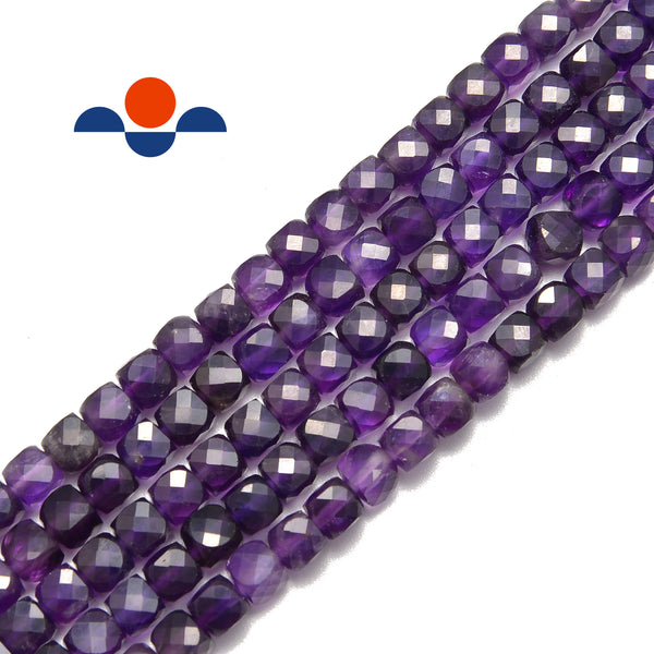 natural amethyst faceted square cube dice beads