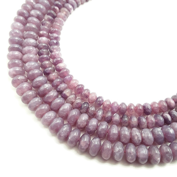 natural lepidolite smooth rondelle beads