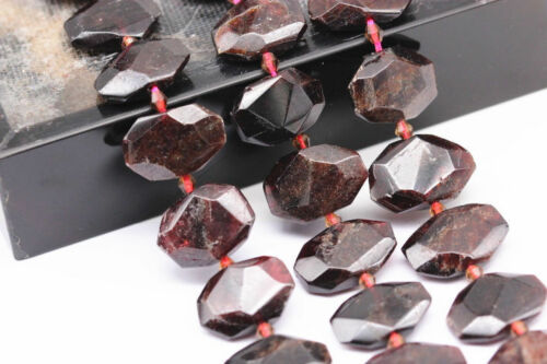 red garnet rectangle slice faceted octagon beads
