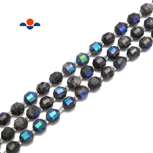 "Mystic Larvikite Labradorite AB Faceted Off Round Beads Size 9x10mm 15.5"" Strand"
