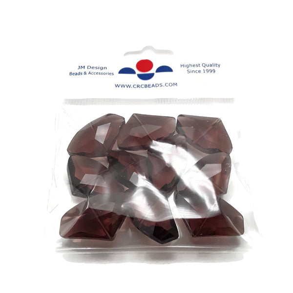 burgundy glass faceted irregular shape beads