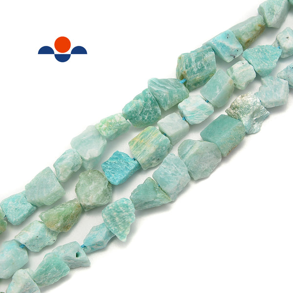 "Green Amazonite Rough Nugget Chunks Side Drill Beads Approx 9x10mm 15.5""Strand"