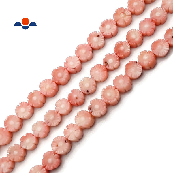 Light Pink Bamboo Coral Hand Carved Flower Discs Beads Size 10mm 15.5'' Strand