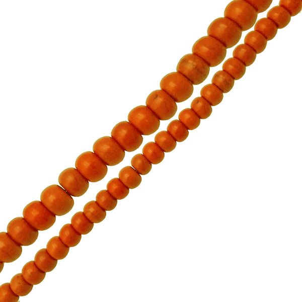 dark orange howlite turquoise smooth rondelle beads