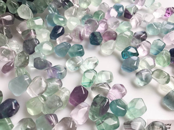 fluorite irregular faceted nugget top drill beads