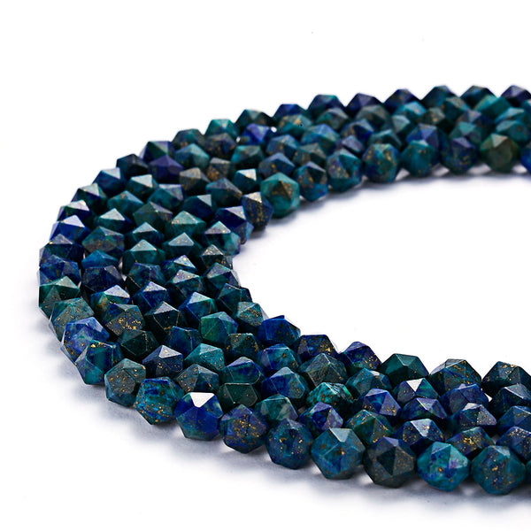chrysocolla faceted star cut beads