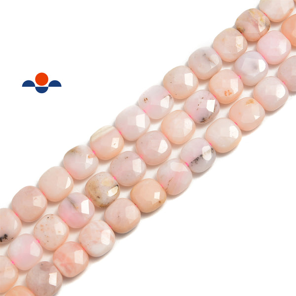 pink opal faceted square beads