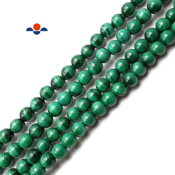 Natural Green Malachite Smooth Round Beads Size 4mm 15.5'' Strand