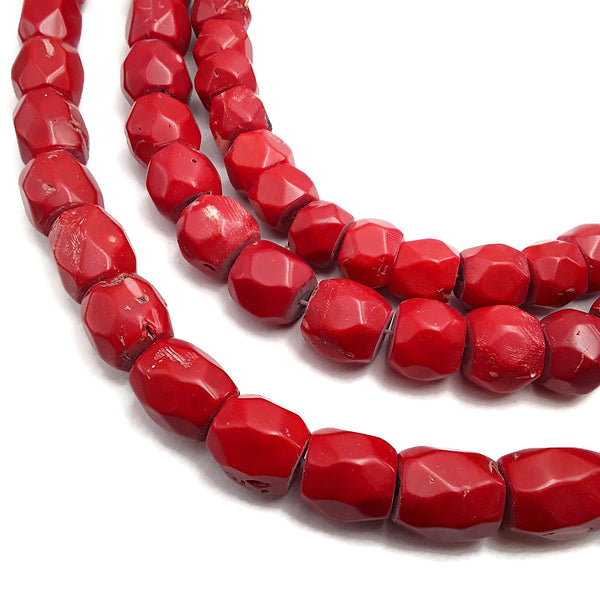 red bamboo coral irregular faceted drum barrel beads