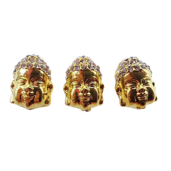 buddha head charm gold plated copper with micro pave rhinestone