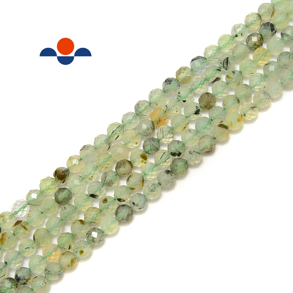 "Natural Prehnite Faceted Round Beads Size 5mm 15.5"" Strand"