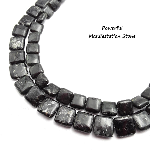 arfvedsonite smooth flat square beads