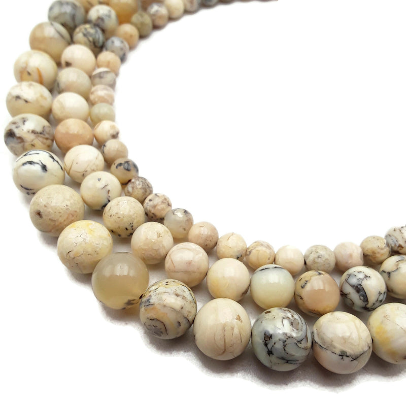 "African White Opal Smooth Round Beads 4mm 6mm 8mm 10mm 15.5"" Strand"