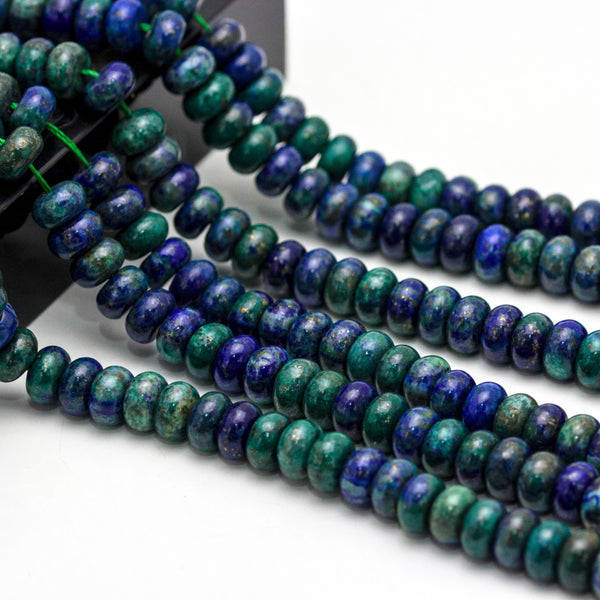 chrysocolla smooth rondelle beads