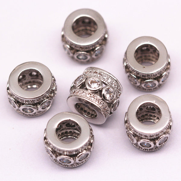 silver plated mirco pave clear zircon cylinder charm