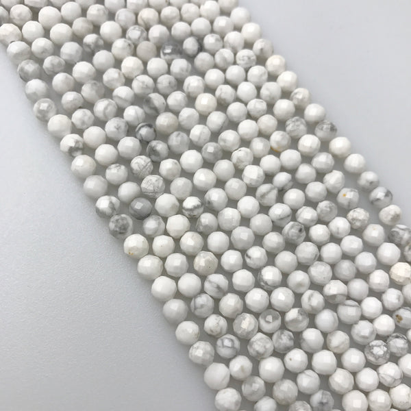 natural howlite faceted round beads