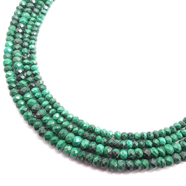 natural malachite faceted rondelle beads