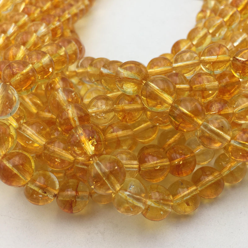 citrine colored quartz smooth round beads