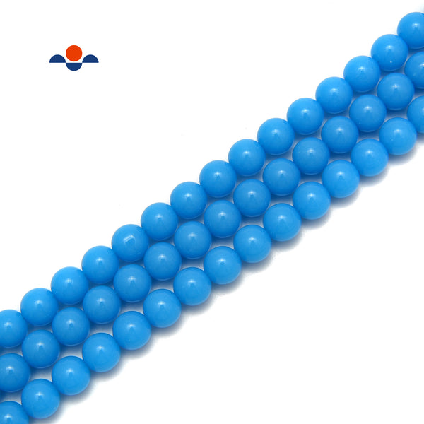 "Bright Blue Glass Beads Smooth Round Beads 6mm 8mm 10mm 15.5"" Strand"