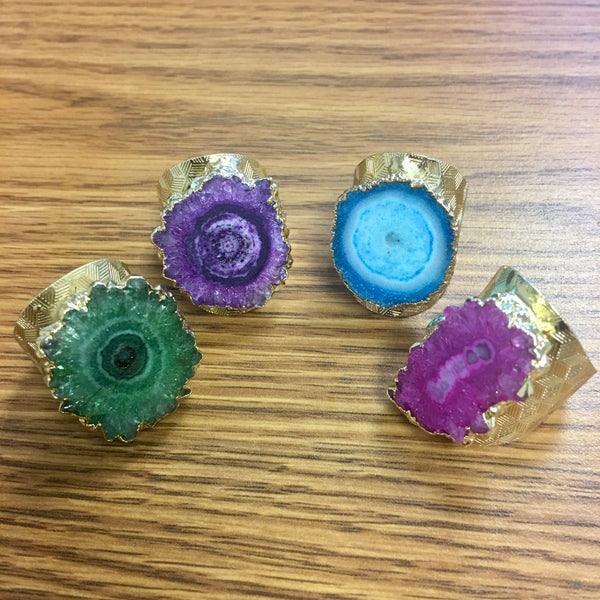 druzy agate ring k gold plated green purple blue hot pink colors