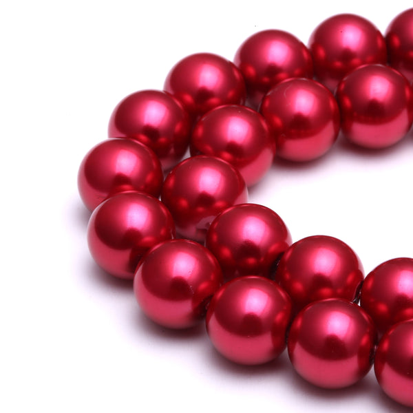 bright red glass pearl smooth round beads