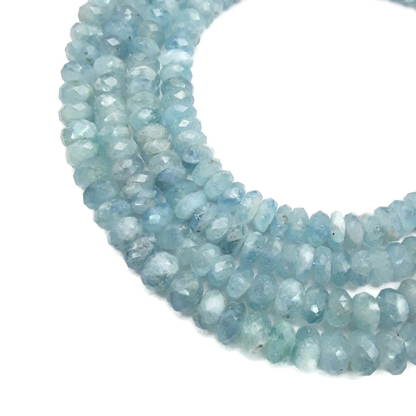 "Natural Aquamarine Faceted Rondelle Beads Size Approx 6-8x10mm 15.5"" Strand"