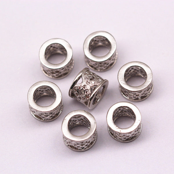 silver micro pave zircon cylinder shape charm
