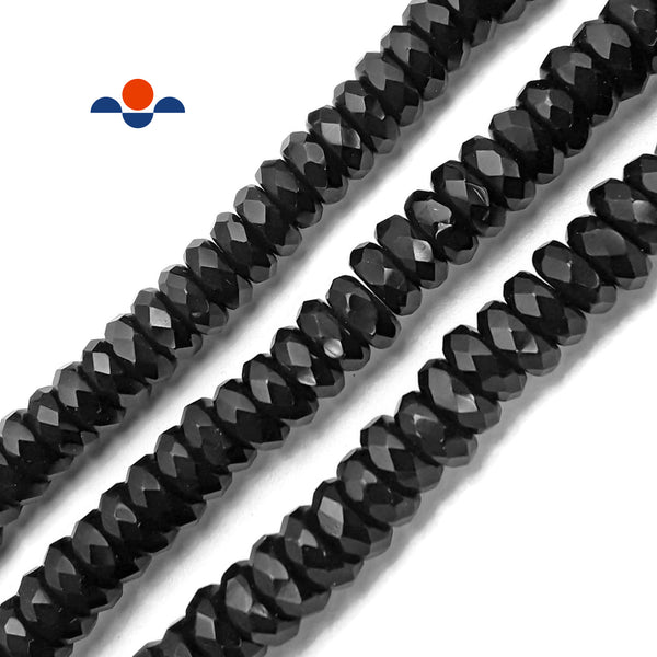 "Black Onyx Faceted Rondelle Beads Size 4x9.5mm Approx 13.5"" Strand"