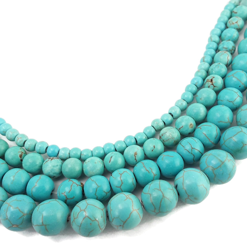 blue howlite turquoise smooth round beads