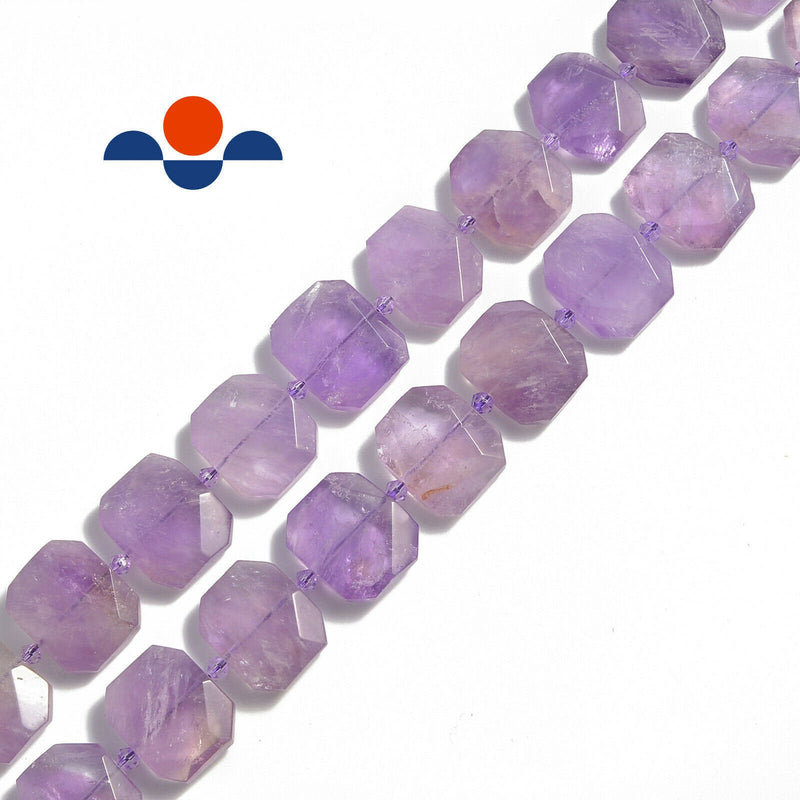 ametrine rectangle slice faceted octagon beads