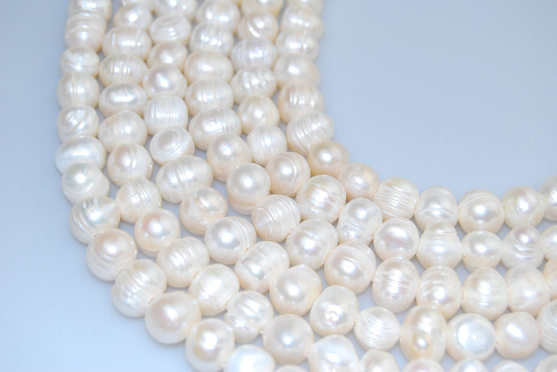 "2.0mm Hole Fresh Water Pearl Potato Shape Beads 8mm 10mm 12mm 13mm 14"" Strand"
