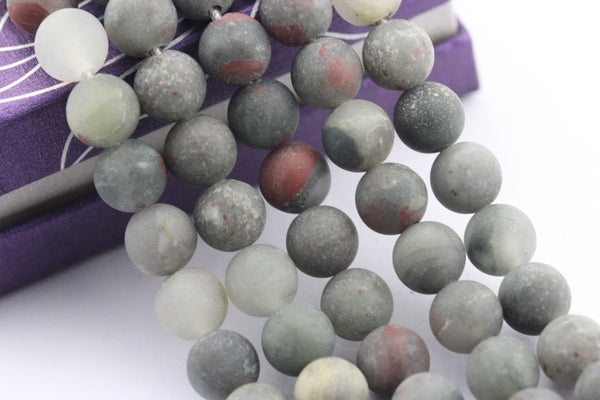large hole african bloodstone matte round beads
