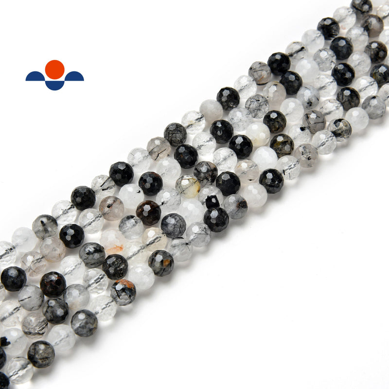 black tourmalinated quartz faceted round beads