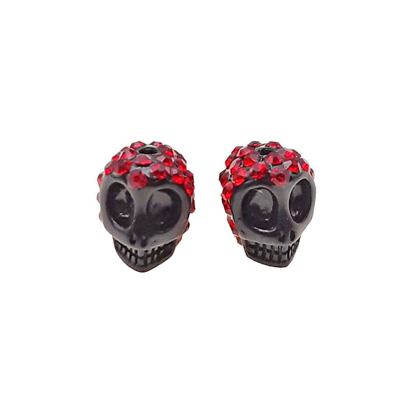 Resin Black Red Rhinestone Skull Pendant Charms 10x12mm Sold Per Pair
