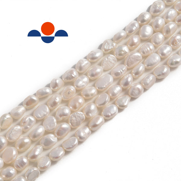 white fresh water pearl side drill nugget beads